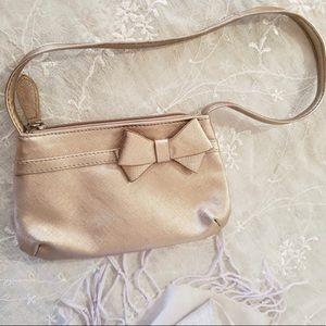 🌸 Metallic Rose Gold Bow Dainty Mini Shoulder Bag